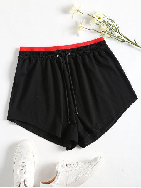 Sportliche Kordelzug Zweifarbige Shorts - Schwarz L Mobile