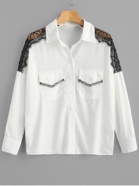 Camisa de panel de encaje festoneado con bolsillos - Blanco 2XL Mobile