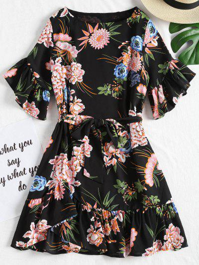 Zaful Floral Ruffles Belted Mini Dress