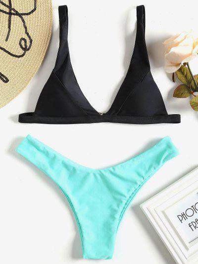 Plunge High Cut Bikini Set - Mint L