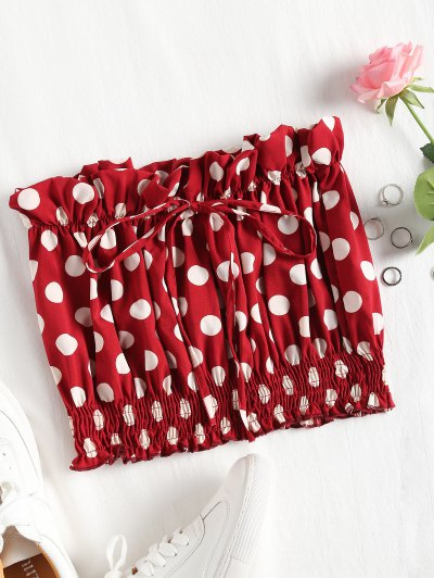 Shirred Panel Polka Dot Tube Top - Red