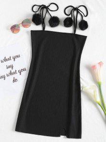 فستان مزين برقبة صغيرة من Pompoms - أسود L