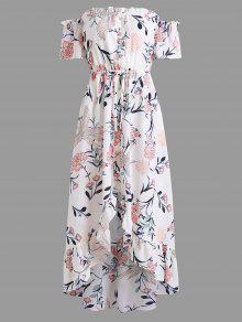 غير متناظرة الكشكشة معطلة الكتف فستان ماكسي - أبيض L