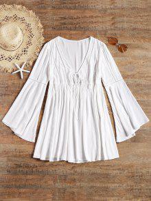 طويل كم مضيئة التعادل الجبهة فستان الشاطئ - أبيض S