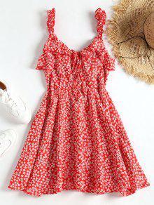 فستان مصغر طباعة الأزهار المصغرة كشكش - أحمر L
