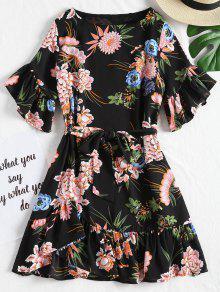 الأزهار الكشكشة مربوط اللباس مصغرة - أسود L