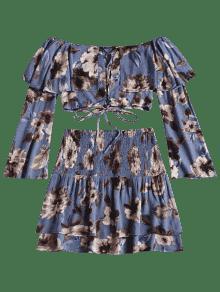 Con Desgastada Y M Escalonada Top Floral Azul Cordones Falda zaqwYadnO6