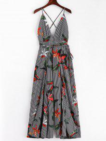 Slit Wide Leg Stripes Floral Jumpsuit - الأزهار M