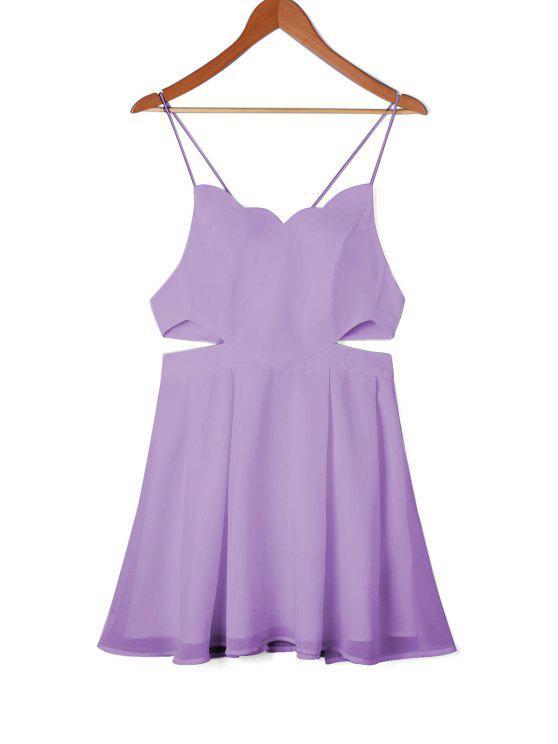 online Scalloped Side Cut Out Swing Dress - LIGHT PURPLE M