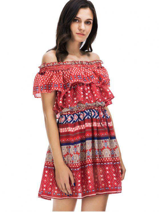 Ruffled Off The Shoulder Sun Dress - Multi L
