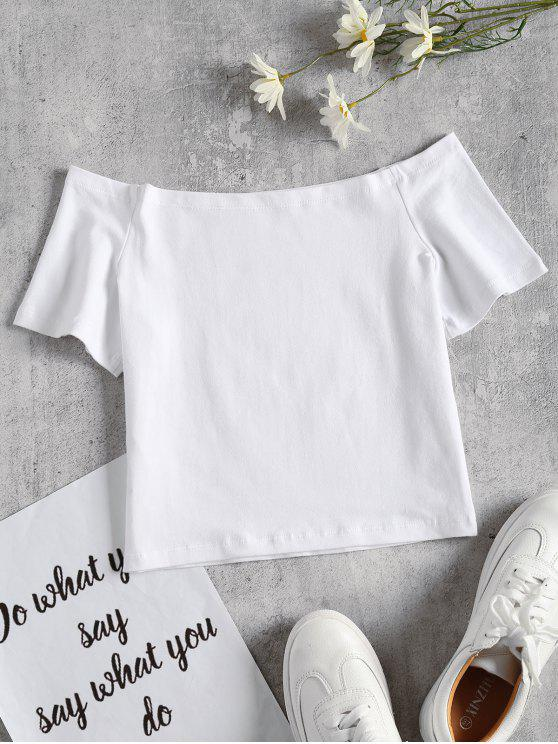 Off The Shoulder Crop Tee - Branco M