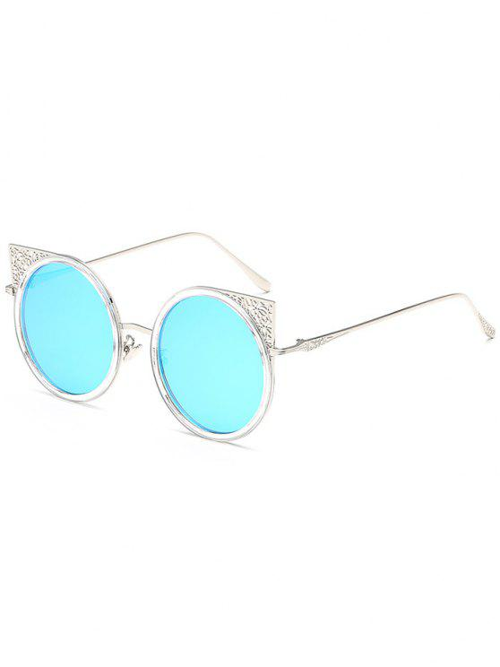 Occhiali da sole rotondi con montatura in metallo scolpito - Blu Castello