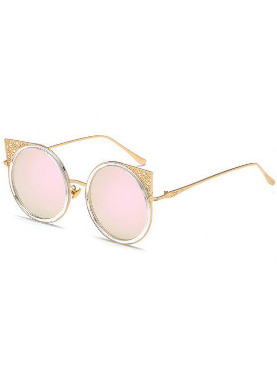 Occhiali da sole rotondi con montatura in metallo scolpito - Struttura Oro + Lente Rosa