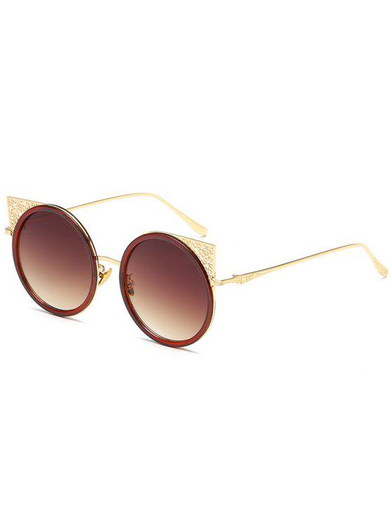 affordable Carved Metal Frame Hollow Out Round Sunglasses - GOLD FRAME+DRAK BROWN
