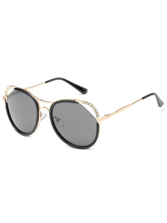 trendy Unique Rhinestone Inlaid Hollow Out Sunglasses - GOLDEN+GREY