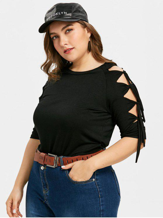 women Plus Size Cut Out Half Sleeve Tee - BLACK 3XL
