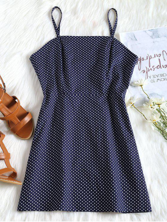 best Polka Dot Cami Summer Dress - MIDNIGHT BLUE L