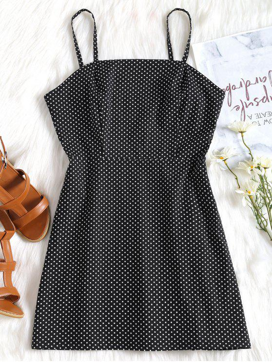 chic Polka Dot Cami Summer Dress - BLACK M