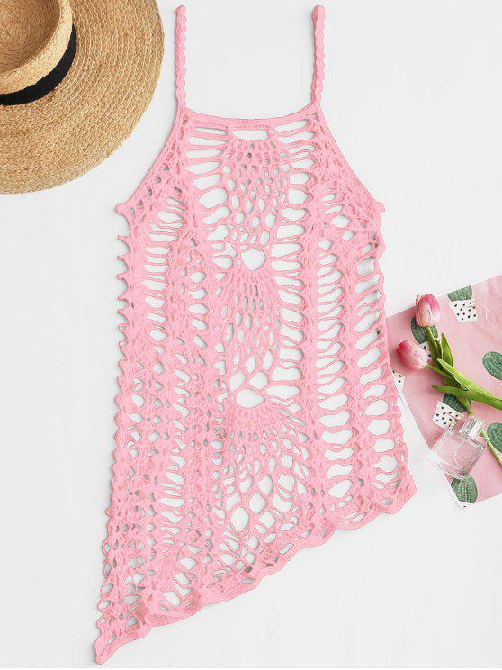 Crochet Beach Slip Dress Cover Up - Rosado Talla única