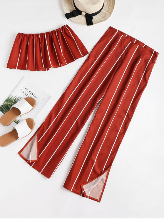 womens ZAFUL Striped Strapless Top and Slit Pants Set - CHESTNUT RED L