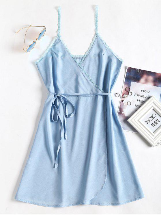 Lace Panel Surplice Slip Mini Dress - Jeans Azul M