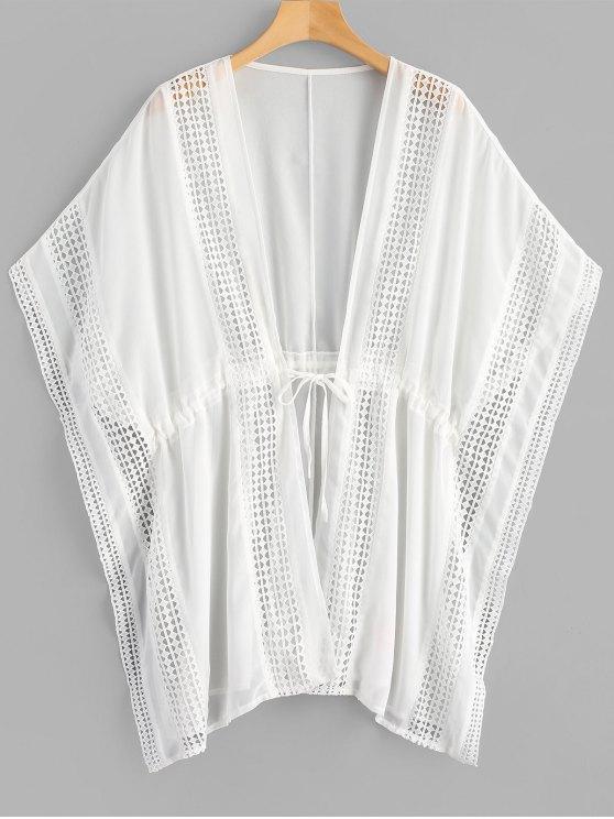 الكروشيه لوحة زائد حجم القفطان الشيفون - أبيض مقاس واحد