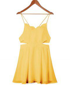 Scalloped Side Cut Out Swing Dress - Yellow M