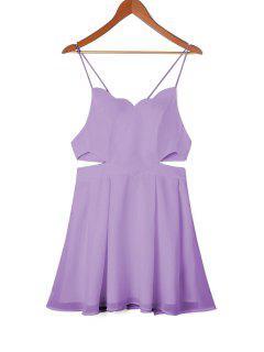 Scalloped Side Cut Out Swing Dress - Light Purple M