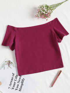 Off The Shoulder Crop Tee - Medium Violet Red Xl