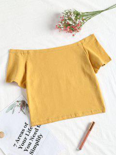 Fuera De La Camiseta De Corte De Hombro - Amarillo L