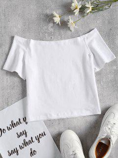 Off The Shoulder Crop Tee - White L