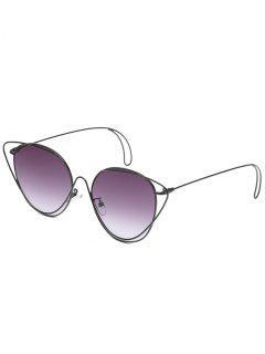Anti-Fatigue Hollow Out Oval Sunglasses - Black+gradual Grey
