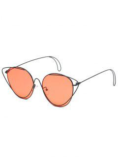 Anti-Fatigue Hollow Out Oval Sunglasses - Black Frame+red Lens
