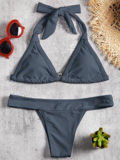Padding Halfter Bikini Set - Nebel Blau S