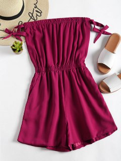 Plain Tied Bowknot Strapless Romper - Red Wine S