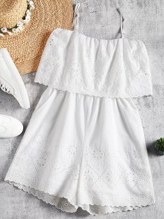 Hollow Out Pockets Cami Romper - White L