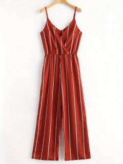 Striped Surplice Cami Jumpsuit - Chestnut Red L