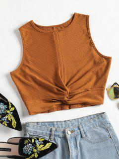 Twisted Crop Tank Top - Brown M