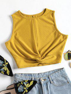 Twisted Crop Tank Top - Golden Brown L