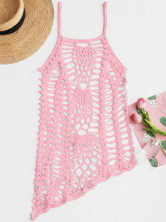 Crochet Beach Slip Dress Cover Up - Pink