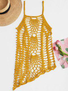 Crochet Beach Slip Dress Cover Up - Yellow
