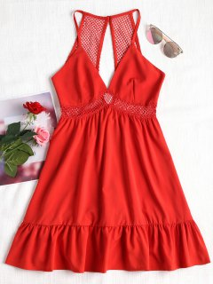 Lattice Eyelet Ruffle Mini Dress - Red M