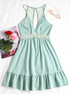 Lattice Eyelet Ruffle Mini Dress - Light Green S