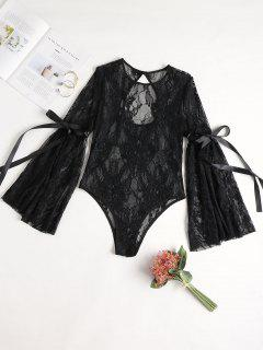 Lace Sheer Bodysuit With Long Sleeves - Black M