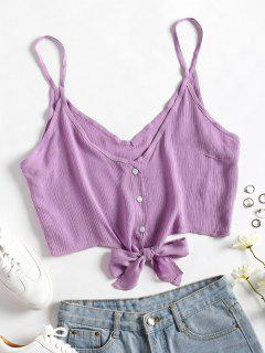 Cropped Button Up Tie Tank Top - Purple Dragon L