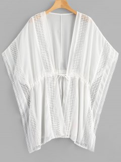 Crochet Panel Plus Size Chiffon Kaftan - White