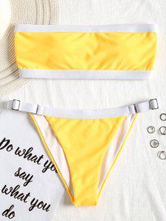Contrast Trim Bandeau Bikini Set - Yellow M
