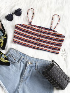 Striped Cropped Cami Top - Multi-a M