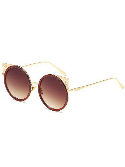 Geschnitzte Metallrahmen aushöhlen Runde Sonnenbrille - Golder Rahmen+Dunkel Brauen  Mobile