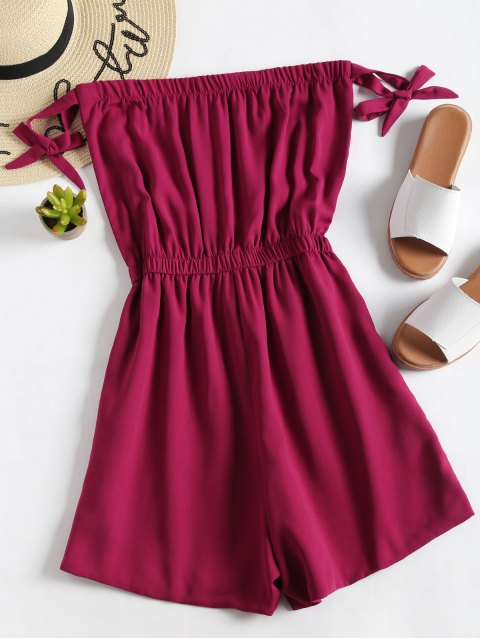 women's Plain Tied Bowknot Strapless Romper - RED WINE L Mobile